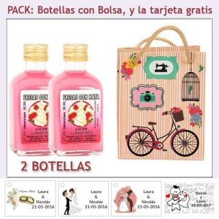 2 Botellitas de Licor de Fresas con Nata con bolsa vintage con bicicleta y tarjeta