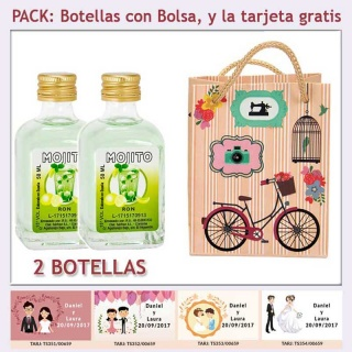 2 Botellitas de Ron Mojito con bolsa vintage con bicicleta y tarjeta