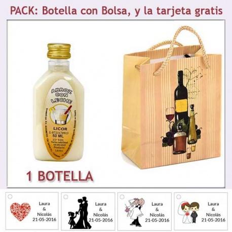 """Botellita de Licor de Arroz con Leche con bolsa """"bodegón"""" y tarjeta"""