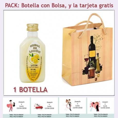 """Botellita de Licor de Crema de Limón con bolsa """"bodegón"""" y tarjeta"""