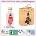 "Botellita de Ginebra de Fresa con bolsa ""bodegón"" y tarjeta"