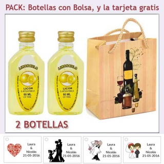 """2 Botellitas de Limoncielo con bolsa """"bodegón"""" y tarjeta"""