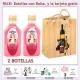 """2 Botellitas de Licor de Fresas con Nata con bolsa """"bodegón"""" y tarjeta"""