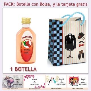 "Botellita de Pacharán con bolsa ""charlestón"" y tarjeta"