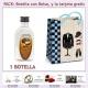 "Botellita de Ron Coco con bolsa ""charlestón"" y tarjeta"