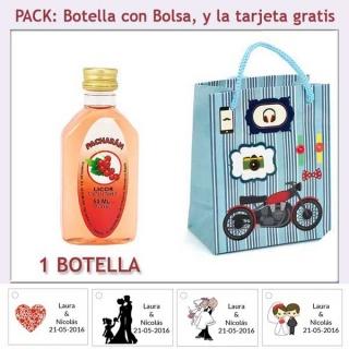 "Botellita de Pacharán con bolsa ""con moto roja"" y tarjeta"