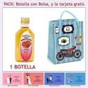 "Botellita de Licor de Fresas con Chocolate con bolsa ""con moto roja"" y tarjeta"