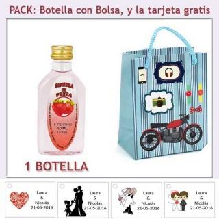 """Botellita de Ginebra de Fresa con bolsa """"con moto roja"""" y tarjeta"""