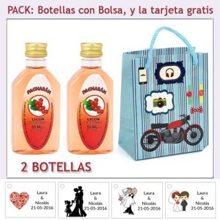 "2 Botellitas de Pacharán con bolsa ""con moto roja"" y tarjeta"