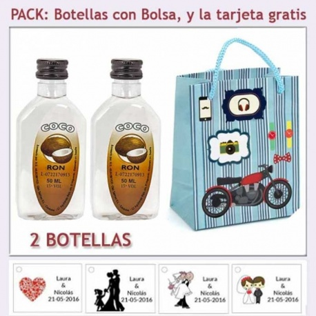 "2 Botellitas de Ron Coco con bolsa ""con moto roja"" y tarjeta"
