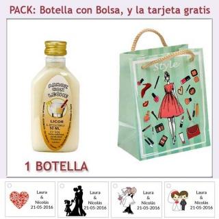 "Botellita de Licor de Arroz con Leche con bolsa ""fashion con mujer"" y tarjeta"