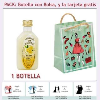 "Botellita de Licor de Crema de Limón con bolsa ""fashion con mujer"" y tarjeta"