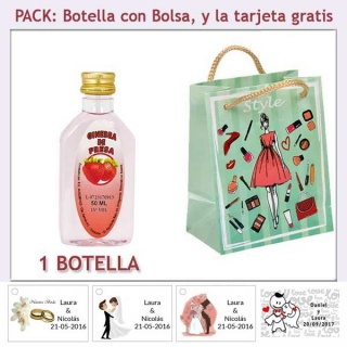 "Botellita de Ginebra de Fresa con bolsa ""fashion con mujer"" y tarjeta"