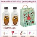 """2 Botellitas de Ron Coco con bolsa """"fashion con mujer"""" y tarjeta"""