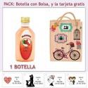 "Botellita de Pacharán con bolsa ""fashion con bicicleta"" y tarjeta"