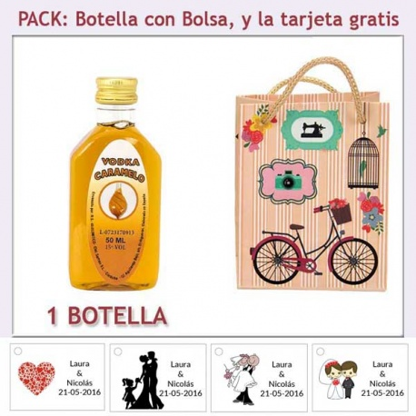 "Botellita de Vodka Caramelo con bolsa ""fashion con bicicleta"" y tarjeta"