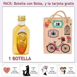 "Botellita de Licor de Mandarina con bolsa ""fashion con bicicleta"" y tarjeta"