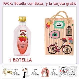 "Botellita de Ginebra de Fresa con bolsa ""fashion con bicicleta"" y tarjeta"