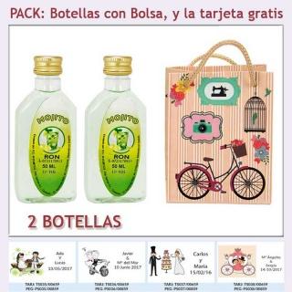 "2 Botellitas de Ron Mojito con bolsa ""fashion con bicicleta"" y tarjeta"
