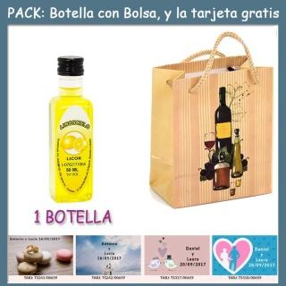 """Botellita de Limoncielo con bolsa """"bodegón"""" y tarjeta"""