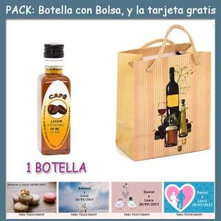 """Botellita de Licor de Café con bolsa """"bodegón"""" y tarjeta"""