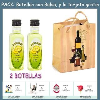 """2 Botellitas de Licor de Melón con bolsa """"bodegón"""" y tarjeta"""