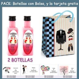 "2 Botellitas de Licor de Fresas con Nata con bolsa ""charlestón"" y tarjeta"