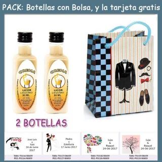"2 Botellitas de Licor de Crema con bolsa ""charlestón"" y tarjeta"