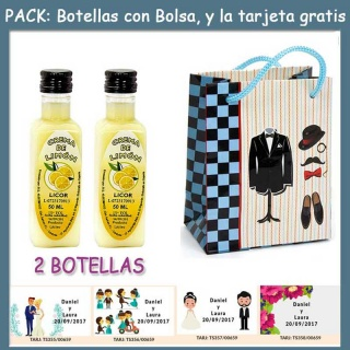 "2 Botellitas de Licor Crema de Limóncon bolsa ""charlestón"" y tarjeta"
