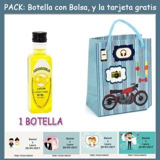 """Botellita de Limoncielo con bolsa """"con moto roja"""" y tarjeta"""