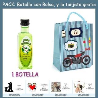 "Botellita de Licor de Finas Hierbas con bolsa ""con moto roja"" y tarjeta"