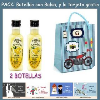 """2 Botellitas de Licor Crema de Limóncon bolsa """"con moto roja"""" y tarjeta"""