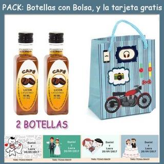 "2 Botellitas de Licor de Café con bolsa ""con moto roja"" y tarjeta"