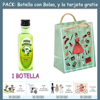 """Botellita de Licor de Finas Hierbas con bolsa """"fashion con mujer"""" y tarjeta"""