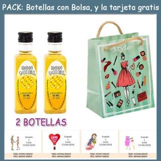"""2 Botellitas de Ron Miel con bolsa """"fashion con mujer"""" y tarjeta"""