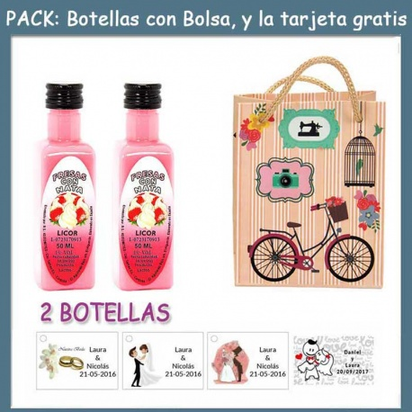 "2 Botellitas de Licor de Fresas con Nata con bolsa ""fashion con bici"" y tarjeta"