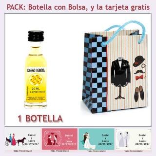 """Botellita de Ron Miel con bolsa """"charlestón"""" y tarjeta"""