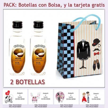 """2 Botellitas de Ron de Coco con bolsa """"charlestón"""" y tarjeta"""