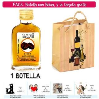 """Botellita Petaca de Licor de Café con bolsa """"bodegón"""" y tarjeta"""