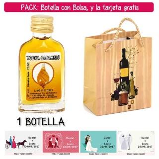 "Botellita Petaca de Vodka Caramelo con bolsa ""bodegón"" y tarjeta"