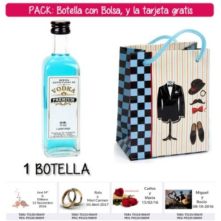 """Botellita 60ml de Vodka Premium con bolsa """"charlestón"""" y tarjeta"""