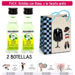 "2 Botellitas de Licor de Finas Hierbas con bolsa ""charlestón"" y tarjeta"