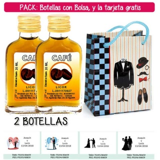 "2 Botellitas Petaca de Licor de Café con bolsa ""charlestón"" y tarjeta"