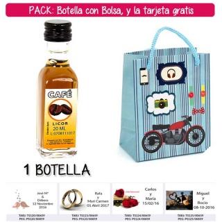 "Botellita de Licor de Café con bolsa ""con moto roja"" y tarjeta"