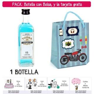 """Botellita 60ml de Vodka Premium con bolsa """"con moto roja"""" y tarjeta"""