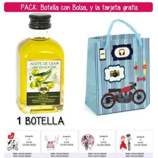 """Botellita de Aceite de Oliva Virgen Extra con bolsa """"con moto roja"""" y tarjeta"""