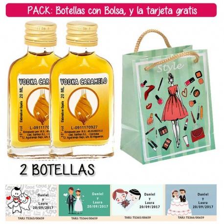 """2 Botellitas Petaca de Vodka Caramelo con bolsa """"fashion con mujer"""" y tarjeta"""