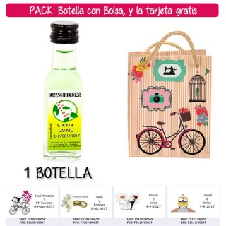 "Botellita de Licor de Finas Hierbas con bolsa ""fashion con bici"" y tarjeta"