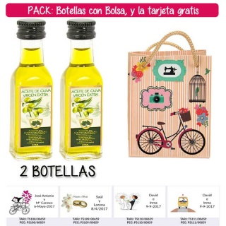 """2 Botellitas de Aceite de Oliva Virgen Extra con bolsa """"fashion con bici"""" y tarjeta"""