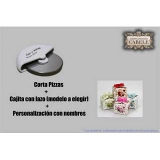 Corta-pizzas + cajita (modelo a elegir) + nombres (precio unidad)
